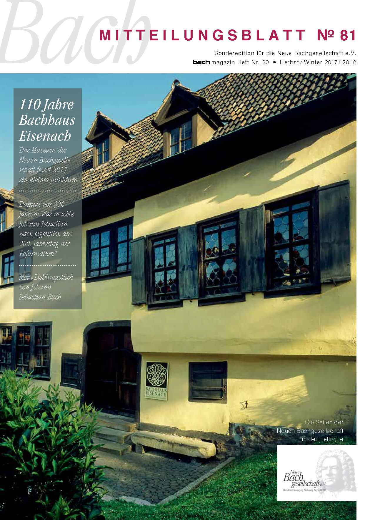 ... Leben und Werk Johann Sebastian Bachs zu entdecken. Mitteilungsblatt